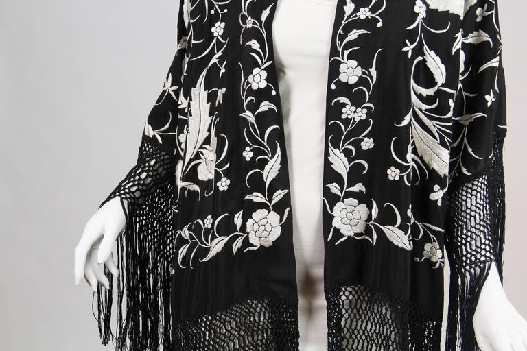 Fringed Kimono made from Antique Piano Shawl For Sale 3