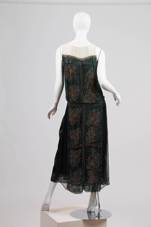 Black 1920s ArtDeco Beaded Dress For Sale
