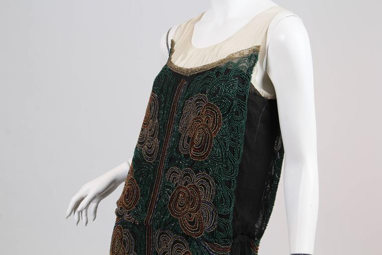 1920s ArtDeco Beaded Dress For Sale 4