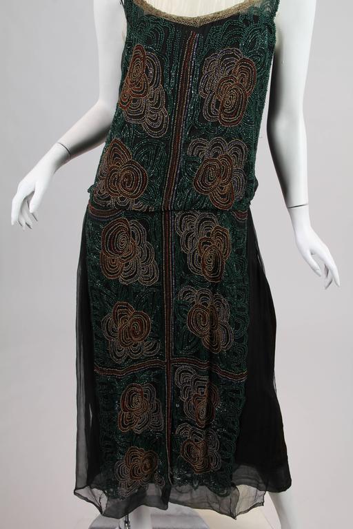 1920s ArtDeco Beaded Dress For Sale 6