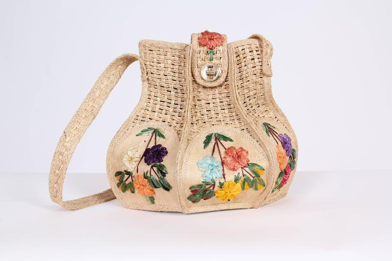 Uniquely Shaped Raffia Embroidered Bag In Good Condition For Sale In New York, NY