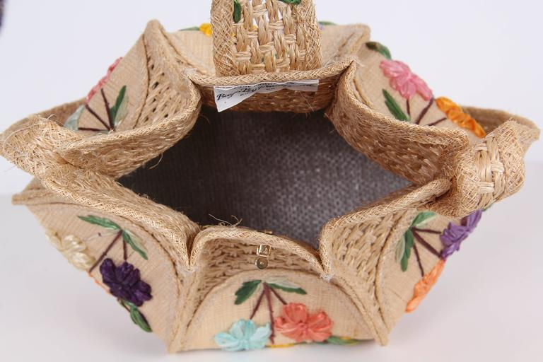 Uniquely Shaped Raffia Embroidered Bag For Sale 3