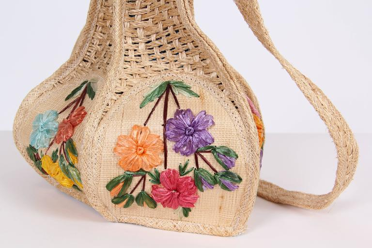 Women's Uniquely Shaped Raffia Embroidered Bag For Sale