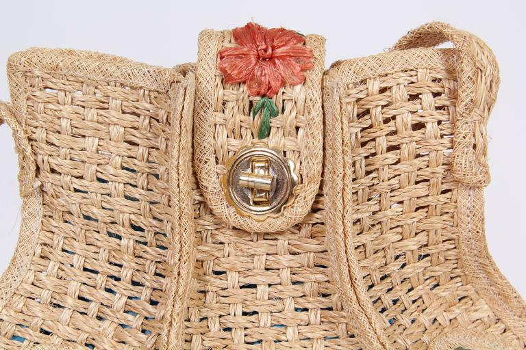 Uniquely Shaped Raffia Embroidered Bag For Sale 2