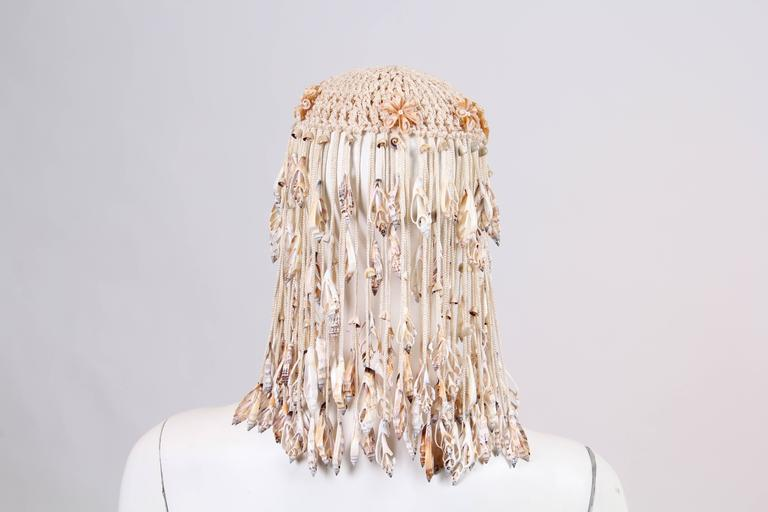 1970s Crochet and Shells Headpiece In Excellent Condition For Sale In New York, NY