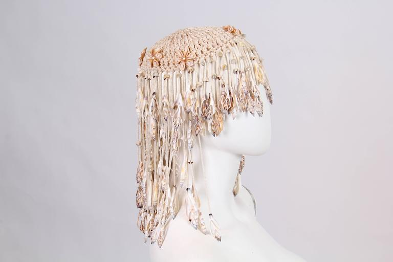 1970s Crochet and Shells Headpiece For Sale 1