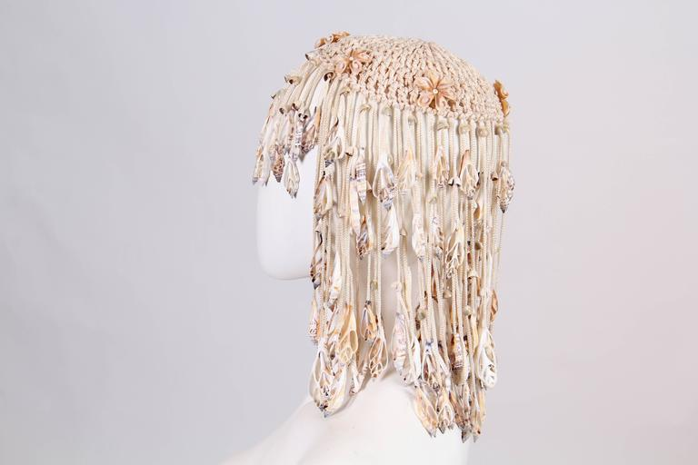 Women's or Men's 1970s Crochet and Shells Headpiece For Sale