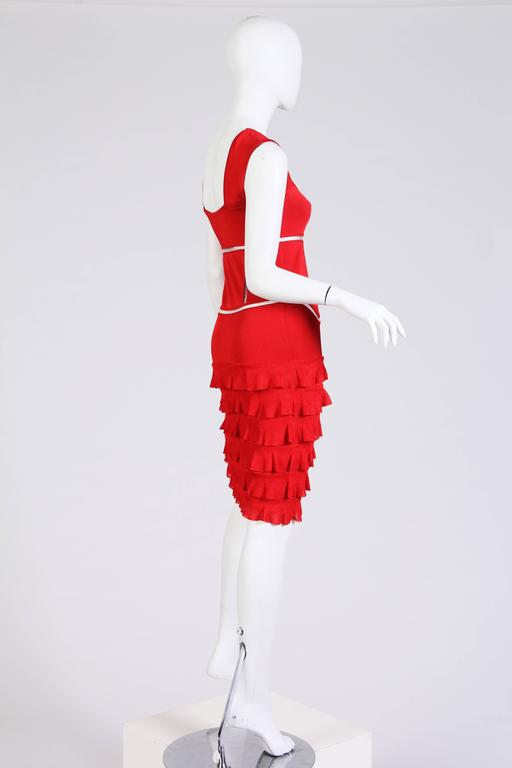 John Galliano Body-Con Dress with Sheer Knit Stripes In Excellent Condition For Sale In New York, NY