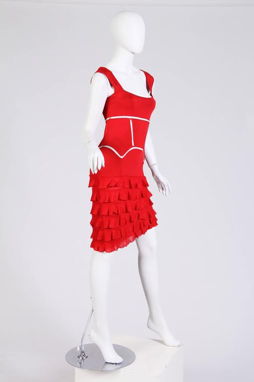 Red John Galliano Body-Con Dress with Sheer Knit Stripes For Sale