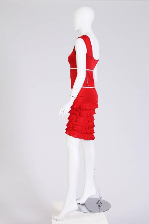 John Galliano Body-Con Dress with Sheer Knit Stripes 4