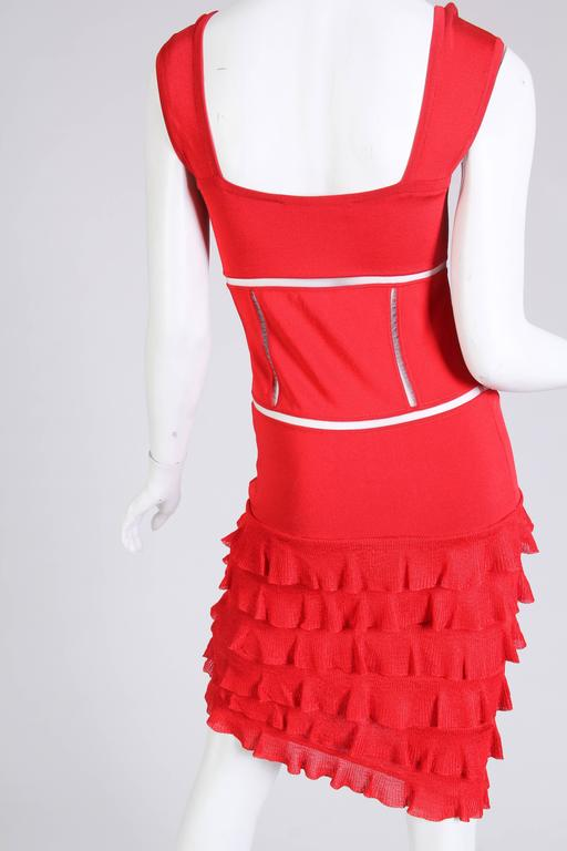 John Galliano Body-Con Dress with Sheer Knit Stripes For Sale 1