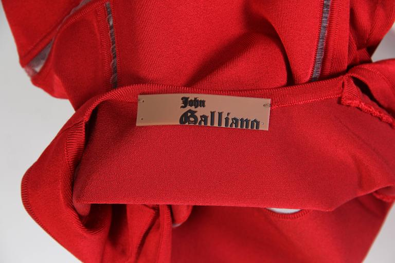 John Galliano Body-Con Dress with Sheer Knit Stripes 8