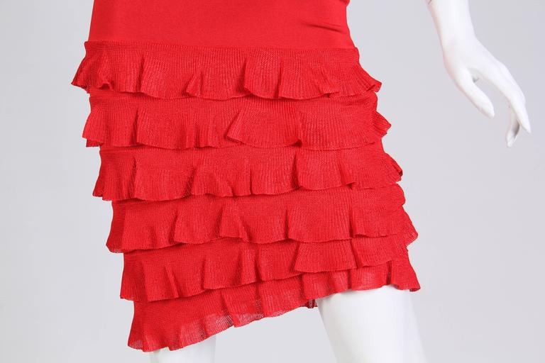 John Galliano Body-Con Dress with Sheer Knit Stripes For Sale 3