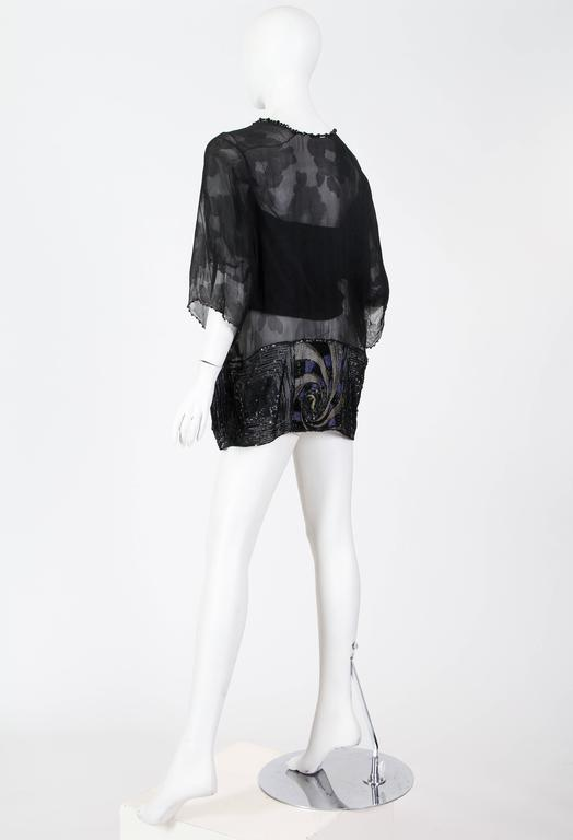 Edwardian Black Silk Chiffon Kimono Sleeve Blouse With Asian Floral Pattern, Me For Sale 1