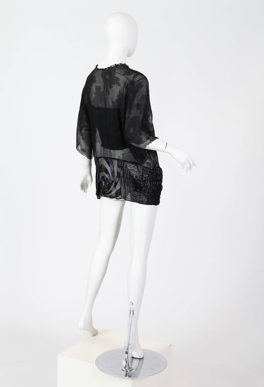 Art Deco Metal Embroidered Silk Tunic with Beaded Tassels For Sale 3