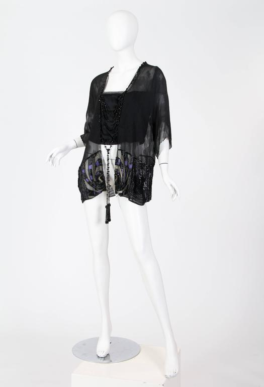 Women's Art Deco Metal Embroidered Silk Tunic with Beaded Tassels For Sale