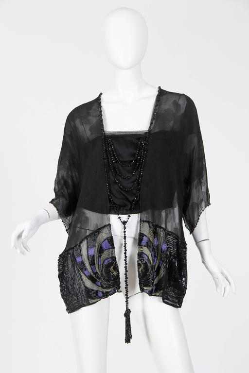 Art Deco Metal Embroidered Silk Tunic with Beaded Tassels In Excellent Condition For Sale In New York, NY
