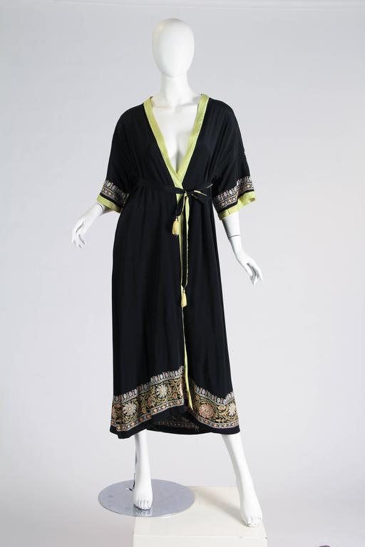 Black 1930s Paisley embroidered Silk Robe Wrap Dress For Sale