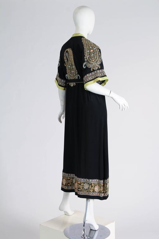1930s Paisley embroidered Silk Robe Wrap Dress For Sale 1