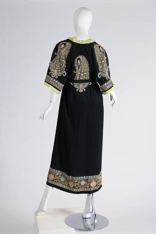 Women's 1930s Paisley embroidered Silk Robe Wrap Dress For Sale