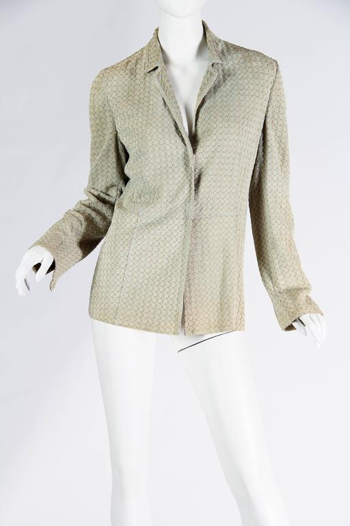 Beige Armani Embroidered Suede Jacket For Sale