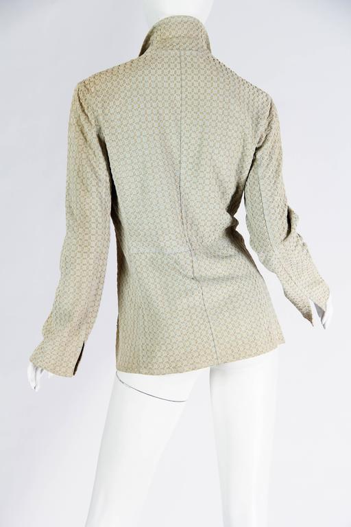 Armani Embroidered Suede Jacket For Sale 1