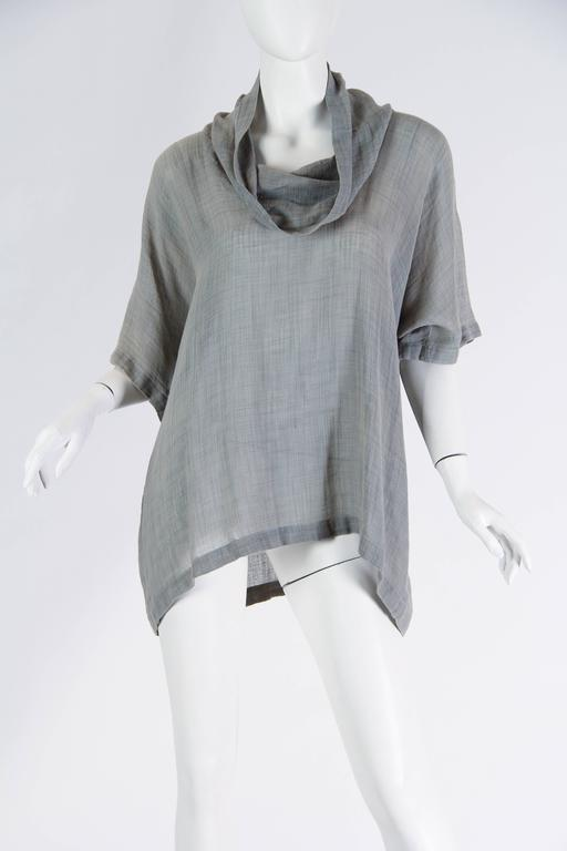 Gray Unisex Early Issey Miyake Cowl-neck Top For Sale