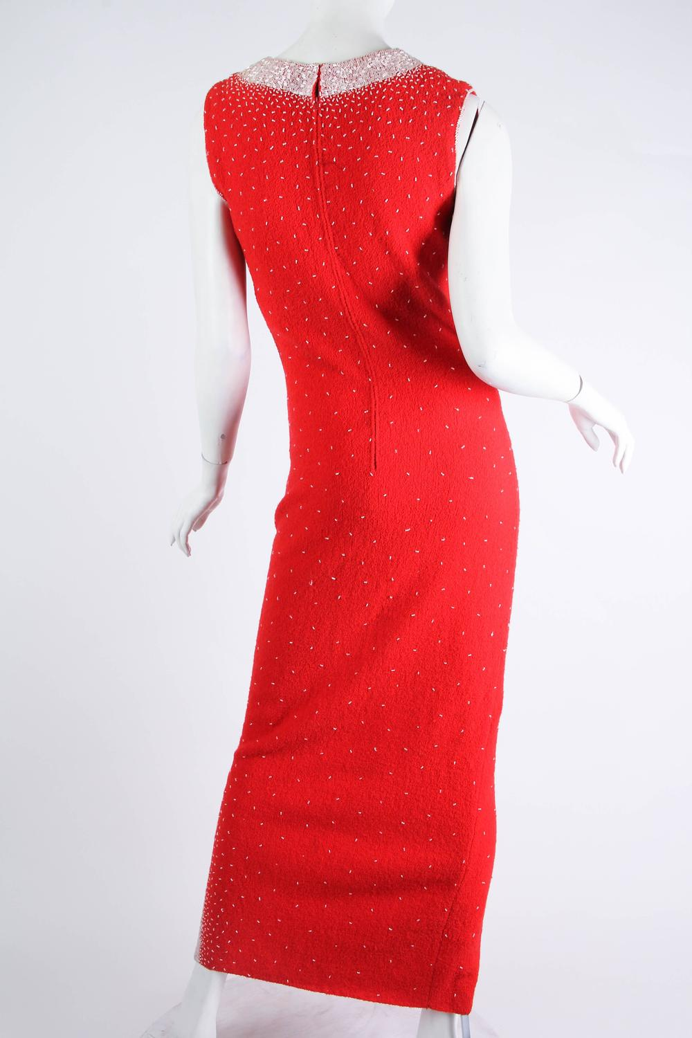 1950s long beaded knit wiggle dress at 1stdibs