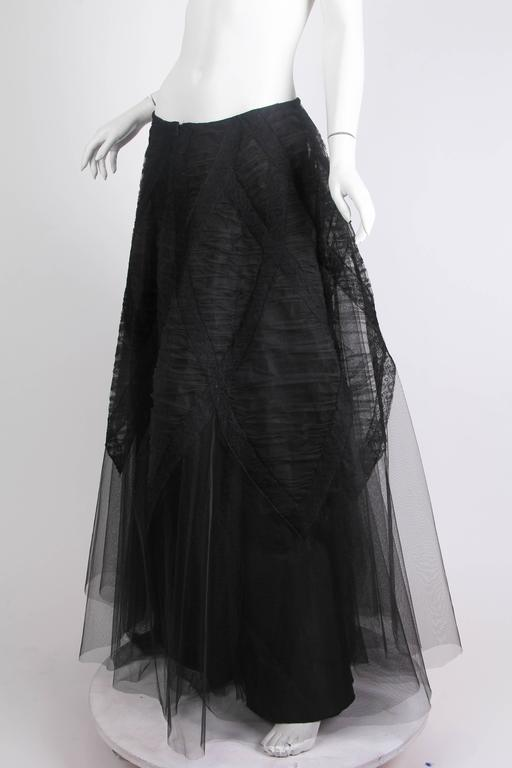 Black 1940s Tule and Chantilly Lace Ball Skirt For Sale