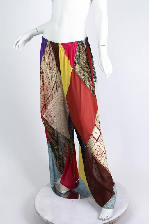 1990s Katherine Hamnett Patchwork Chiffon and Lace Palazzo Pants In Excellent Condition For Sale In New York, NY