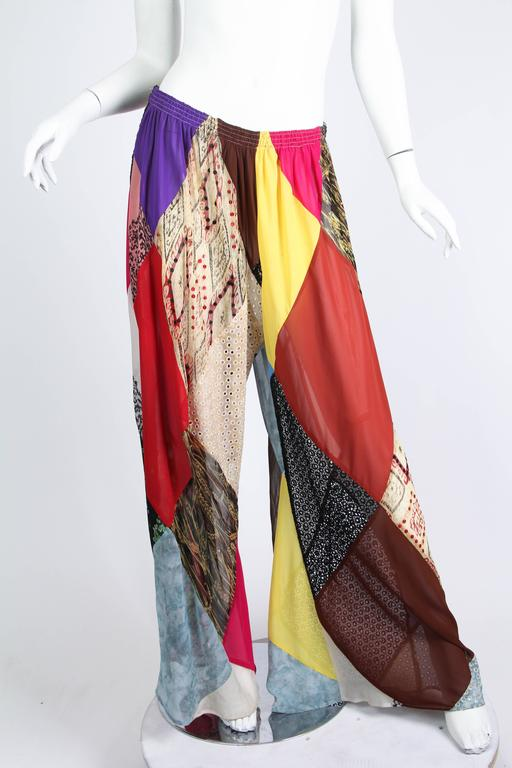 Brown 1990s Katherine Hamnett Patchwork Chiffon and Lace Palazzo Pants For Sale