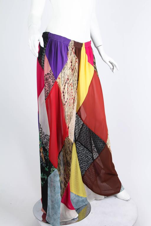 1990s Katherine Hamnett Patchwork Chiffon and Lace Palazzo Pants For Sale 1