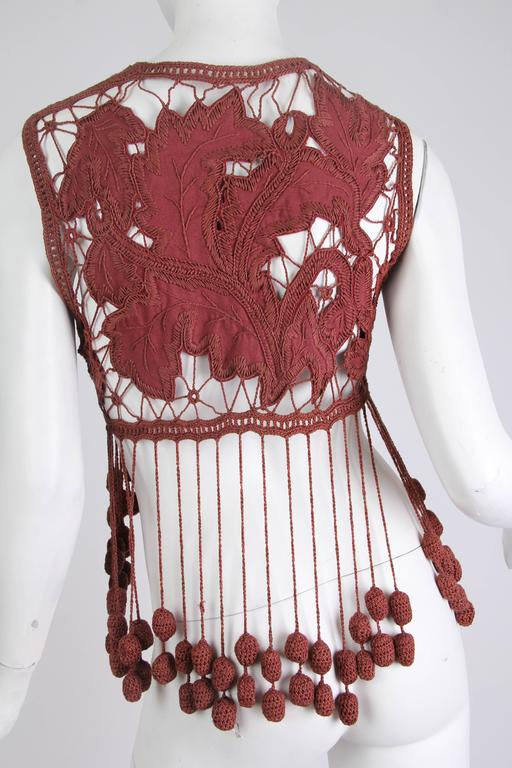 1990s Romeo Gigli Hand Embroidered Linen Vest as Modeled by Kate Moss For Sale 2