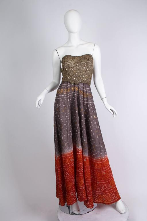Women's Hand Dyed Indian Dress with Metal Sequins and Embroidery For Sale