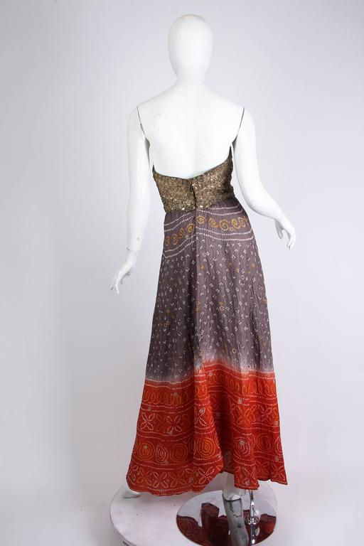 Hand Dyed Indian Dress with Metal Sequins and Embroidery For Sale 1
