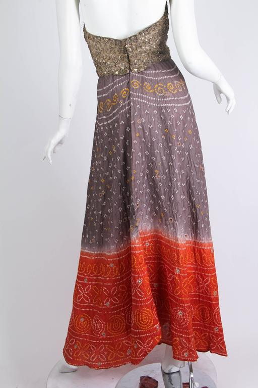 Hand Dyed Indian Dress with Metal Sequins and Embroidery In Excellent Condition For Sale In New York, NY