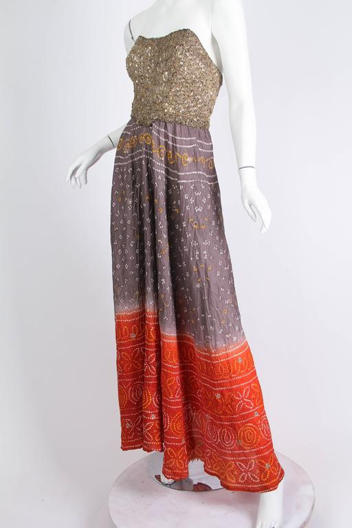 Brown Hand Dyed Indian Dress with Metal Sequins and Embroidery For Sale