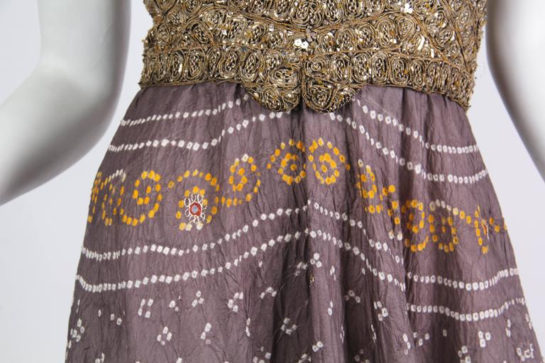 Hand Dyed Indian Dress with Metal Sequins and Embroidery For Sale 3