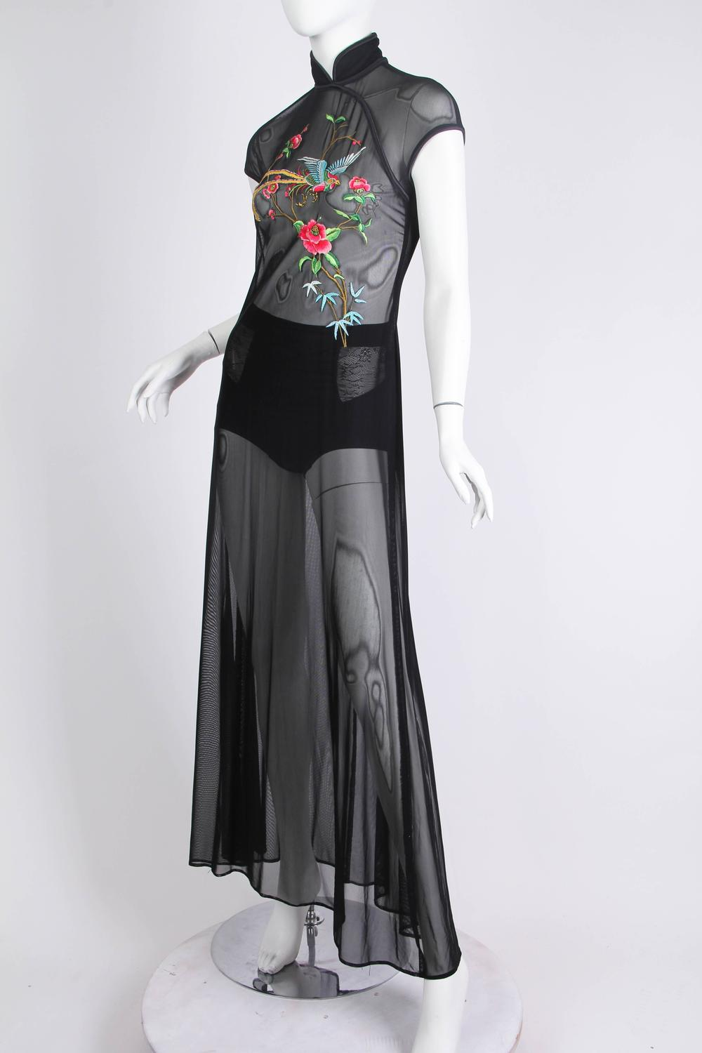 1990s Sheer Net Dress With Chinese Embroidery At 1stdibs