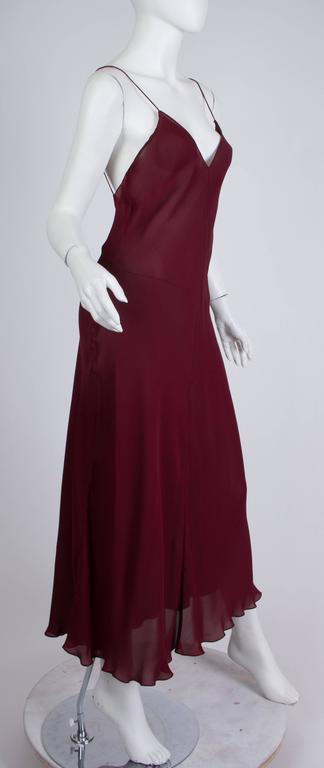 Women's 1990s Donna Karan Sheer Bias Cut Silk Chiffon Dress For Sale