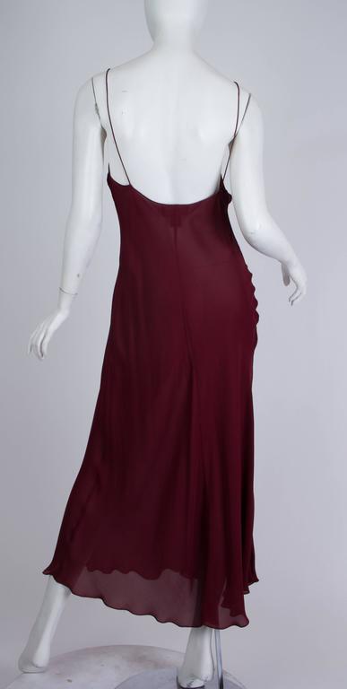 1990s Donna Karan Sheer Bias Cut Silk Chiffon Dress For Sale 1