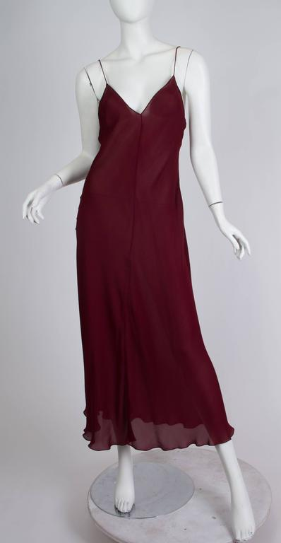 Black 1990s Donna Karan Sheer Bias Cut Silk Chiffon Dress For Sale