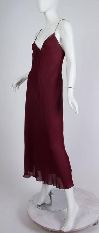 1990s Donna Karan Sheer Bias Cut Silk Chiffon Dress For Sale 3