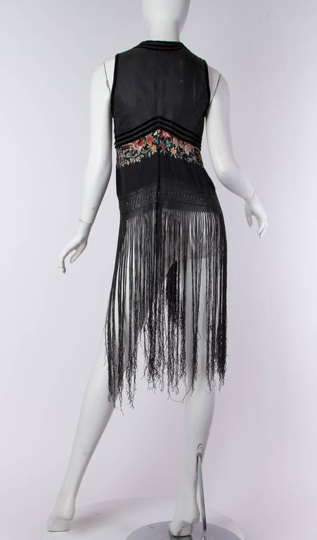 Women's Fantastic Edwardian Silk Vest with Chinese Embroidery and Hand Knotted Fringe For Sale