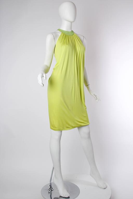 Yellow Alexander McQueen Jersey and Snakeskin Dress For Sale