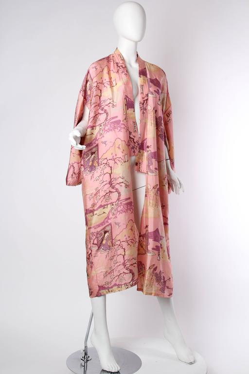 Brown Gorgeous 1920s Boudoir Kimono with Japanese Ladies Playing Instruments For Sale