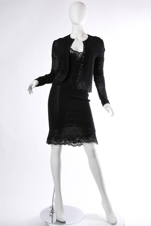 Black John Galliano Knit and Lace Slip Dress with Sweater For Sale