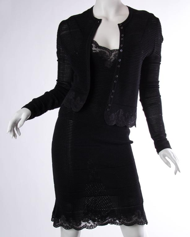 John Galliano Knit and Lace Slip Dress with Sweater In Excellent Condition For Sale In New York, NY