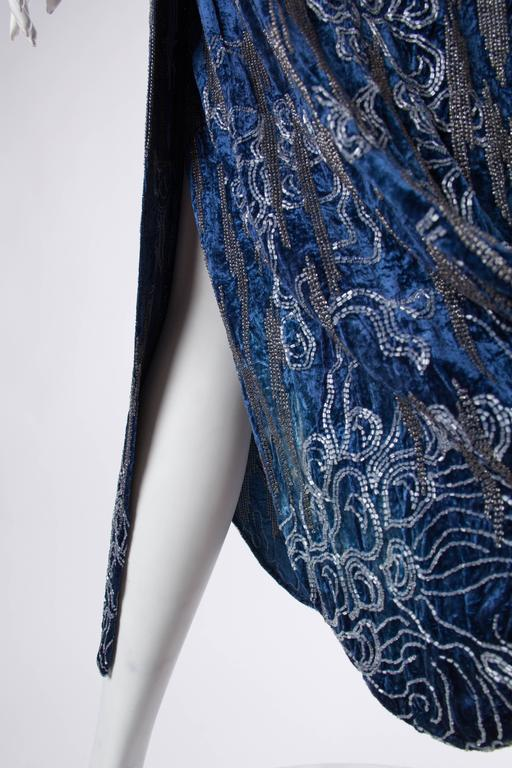 1920s Silk Velvet Dress Beaded with Erté Stylized Wisteria  6