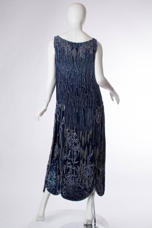 1920s Silk Velvet Dress Beaded with Erté Stylized Wisteria  3